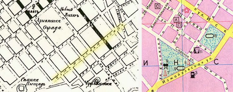 Измаильская на карте 1887 года, Измайловская - на советском плане Кишинёва.