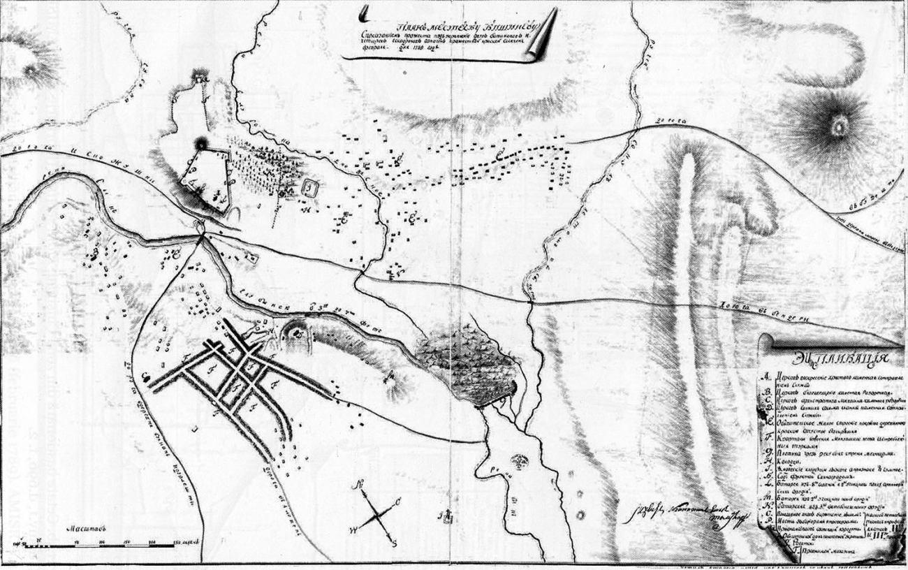 """План Кишинёва 1789 года. В левом верхнем углу обозначена крепость. (План приводится по Sergius Ciocanu """"Orașul Chișinău"""", 2017)."""