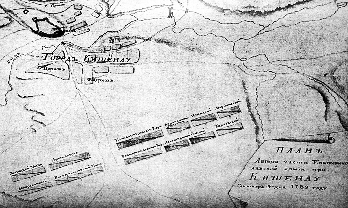 План Кишинёва 1789 года. В левом верхнем углу обозначена крепость.