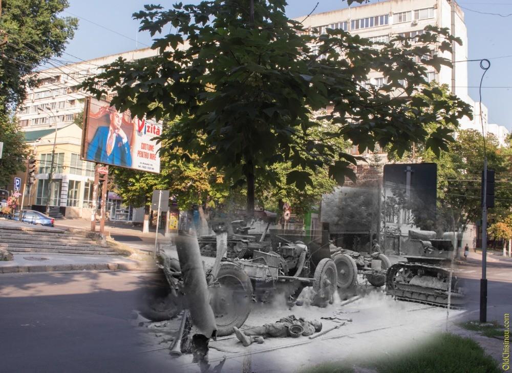 Здесь была разбита советская артиллерийская батарея. Тогда и сейчас.