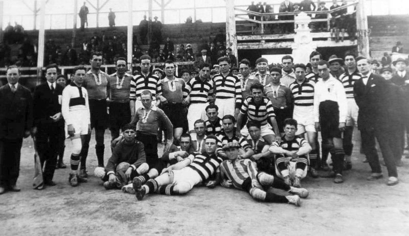 """Кишинёвский """"Спортинг"""" и """"Политехника"""" из Тимишоары, Кишинёв, 1928 год."""