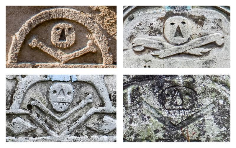 Череп и кости на надгробиях.