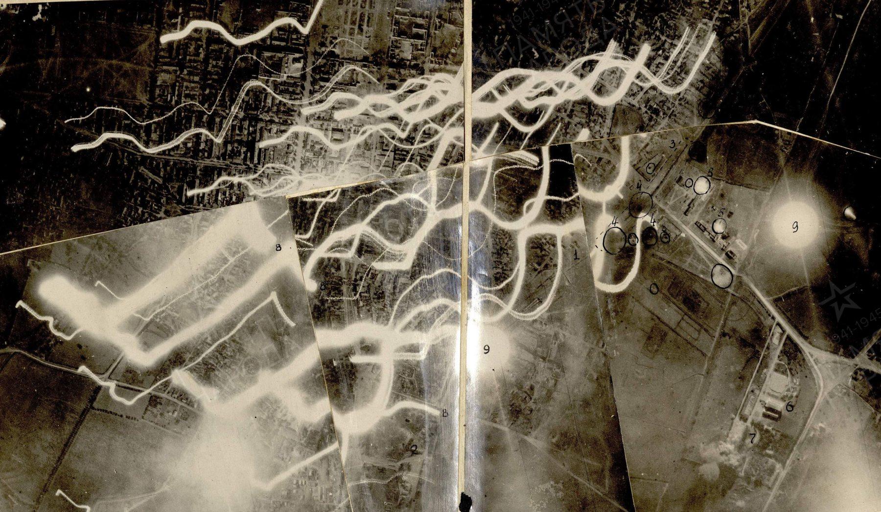 Фрагмент предыдущей фотосхемы, на которой видны многочисленные очаги пожаров (выглядят как белые полосы в результате движения самолёта во время съёмки) на территории Кишинёва. Для ориентира - сверху по центру - Центральный Рынок, снизу по центру - железнодорожный вокзал.